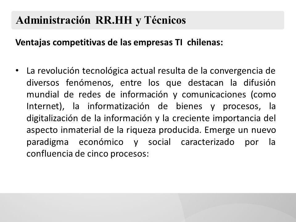 Administración RR.HH y Técnicos Ventajas competitivas de las empresas TI chilenas: La revolución tecnológica actual resulta de la convergencia de dive