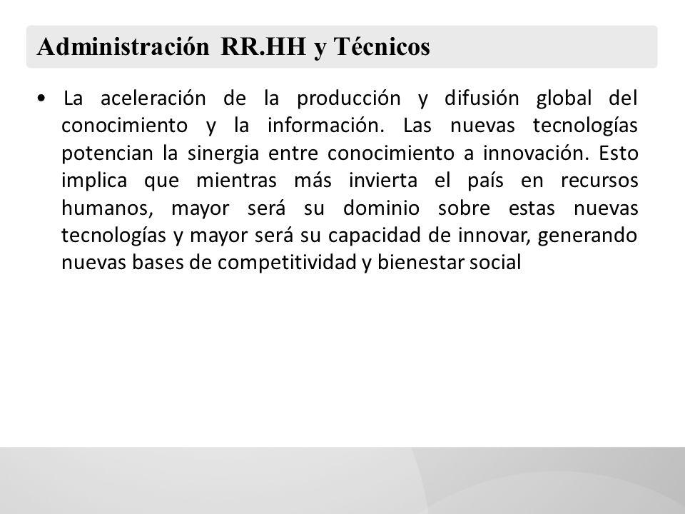 Administración RR.HH y Técnicos La aceleración de la producción y difusión global del conocimiento y la información. Las nuevas tecnologías potencian