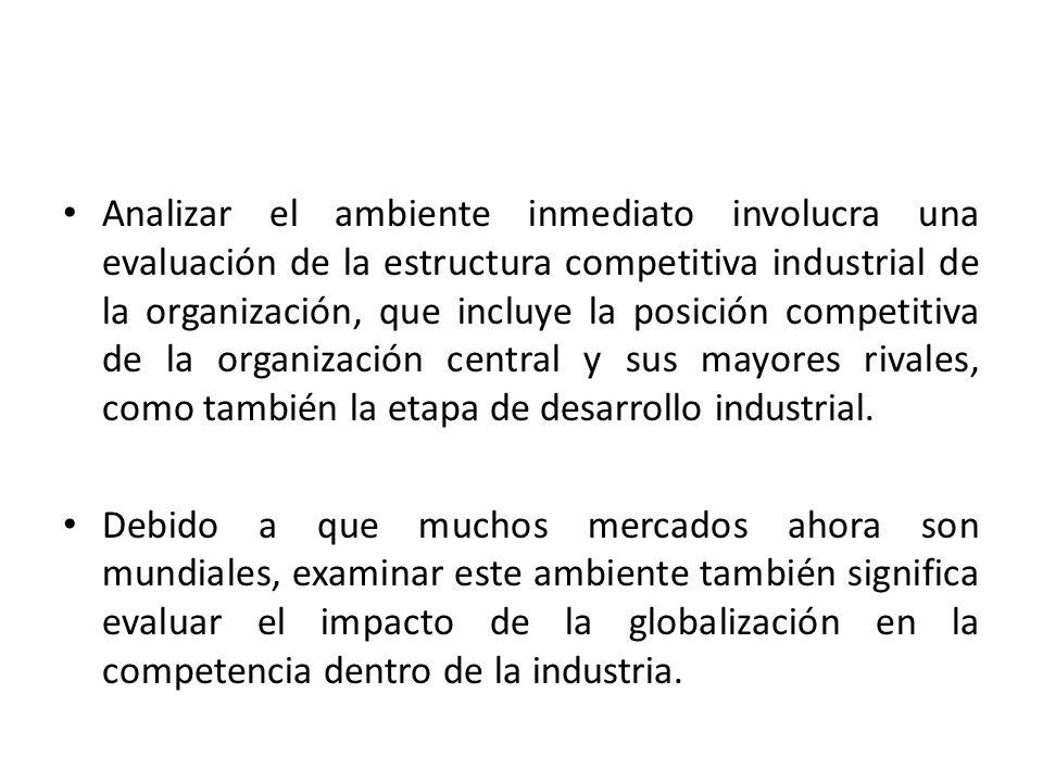 Analizar el ambiente inmediato involucra una evaluación de la estructura competitiva industrial de la organización, que incluye la posición competitiva de la organización central y sus mayores rivales, como también la etapa de desarrollo industrial.