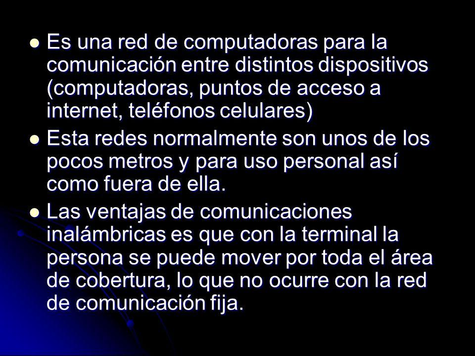 Es una red de computadoras para la comunicación entre distintos dispositivos (computadoras, puntos de acceso a internet, teléfonos celulares) Es una red de computadoras para la comunicación entre distintos dispositivos (computadoras, puntos de acceso a internet, teléfonos celulares) Esta redes normalmente son unos de los pocos metros y para uso personal así como fuera de ella.