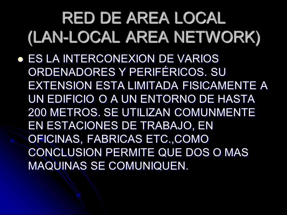 RED DE AREA LOCAL (LAN-LOCAL AREA NETWORK) ES LA INTERCONEXION DE VARIOS ORDENADORES Y PERIFÉRICOS. SU EXTENSION ESTA LIMITADA FISICAMENTE A UN EDIFIC
