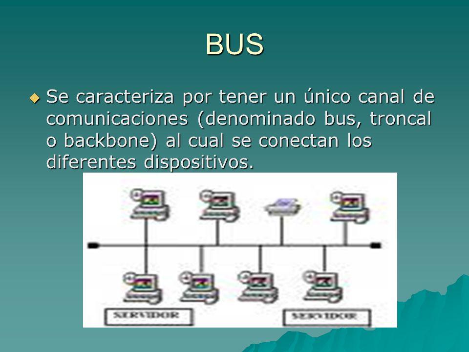 BUS Se caracteriza por tener un único canal de comunicaciones (denominado bus, troncal o backbone) al cual se conectan los diferentes dispositivos. Se