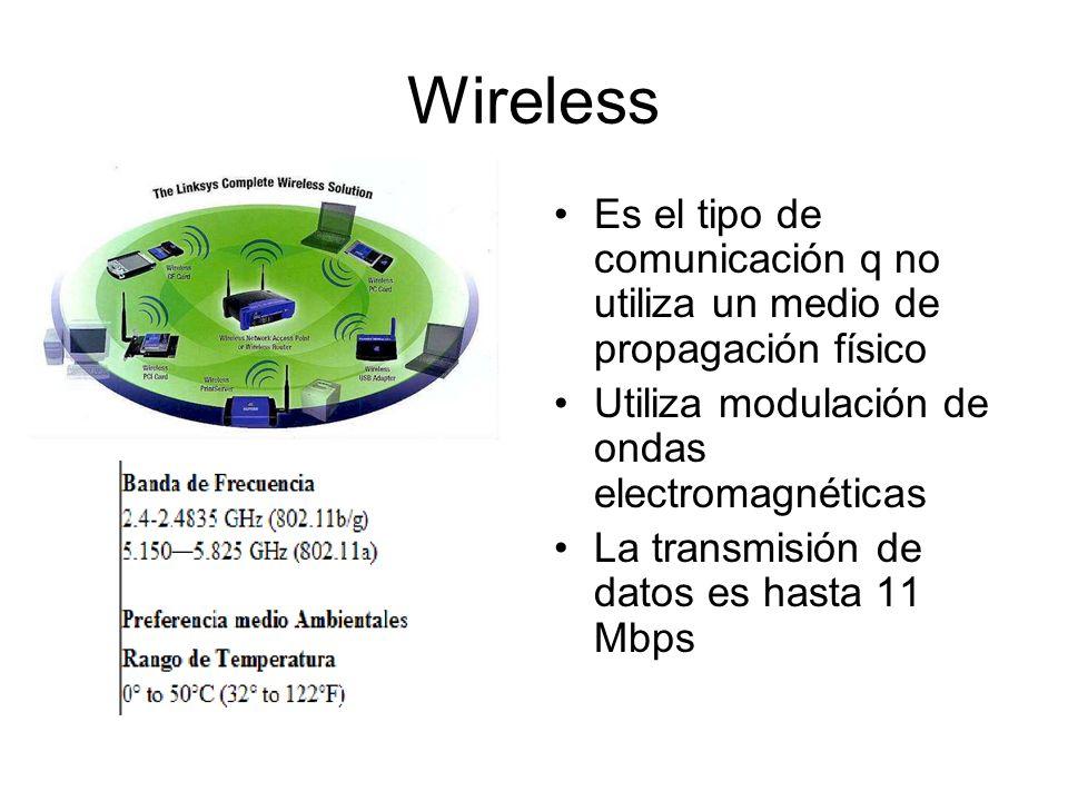 Wireless Es el tipo de comunicación q no utiliza un medio de propagación físico Utiliza modulación de ondas electromagnéticas La transmisión de datos
