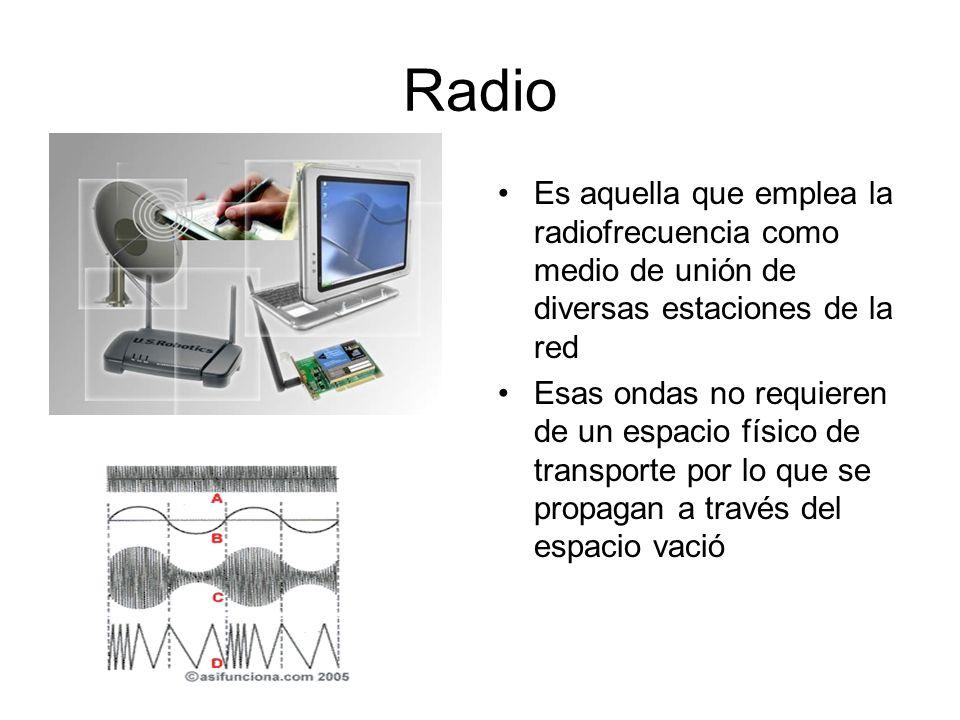 Radio Es aquella que emplea la radiofrecuencia como medio de unión de diversas estaciones de la red Esas ondas no requieren de un espacio físico de tr