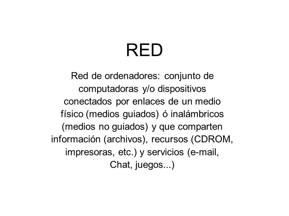RED Red de ordenadores: conjunto de computadoras y/o dispositivos conectados por enlaces de un medio físico (medios guiados) ó inalámbricos (medios no
