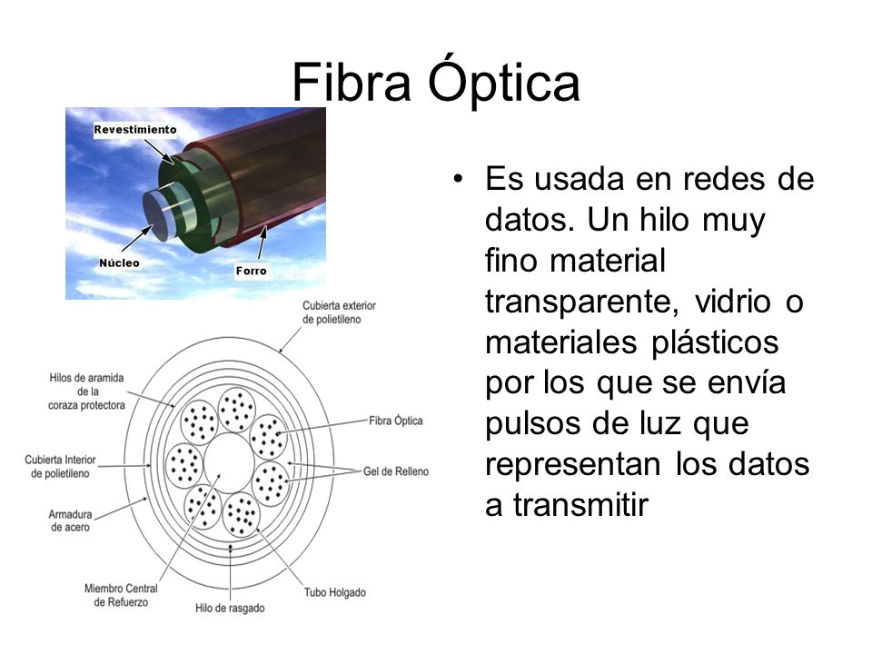 Fibra Óptica Es usada en redes de datos. Un hilo muy fino material transparente, vidrio o materiales plásticos por los que se envía pulsos de luz que