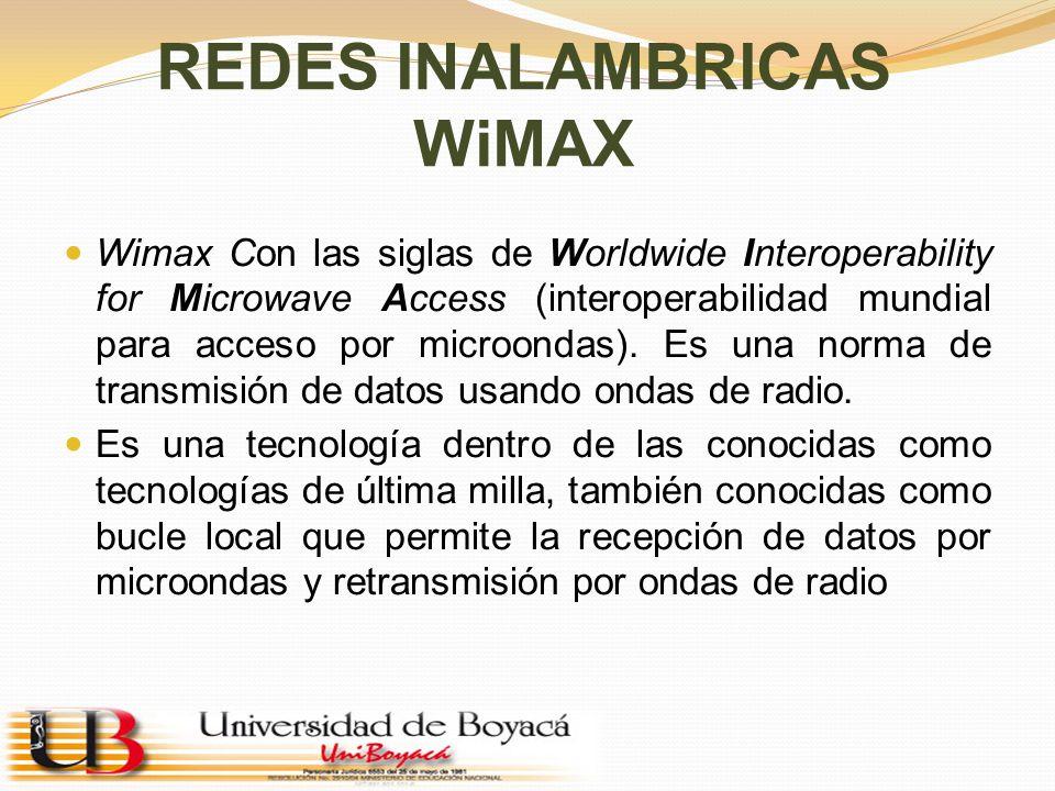 REDES INALAMBRICAS WiMAX Wimax Con las siglas de Worldwide Interoperability for Microwave Access (interoperabilidad mundial para acceso por microondas