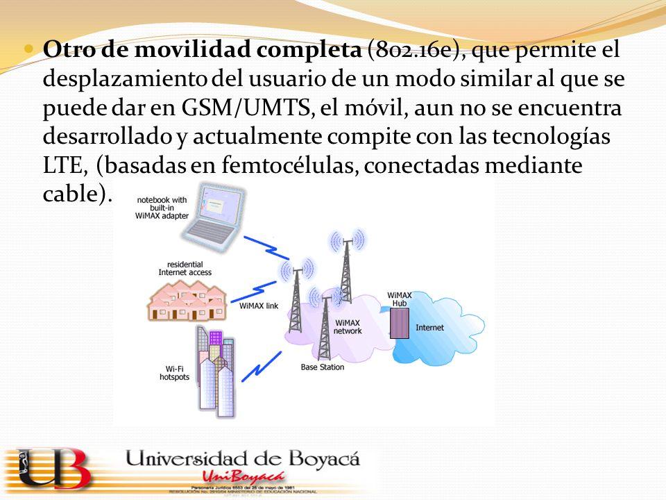 Otro de movilidad completa (802.16e), que permite el desplazamiento del usuario de un modo similar al que se puede dar en GSM/UMTS, el móvil, aun no s