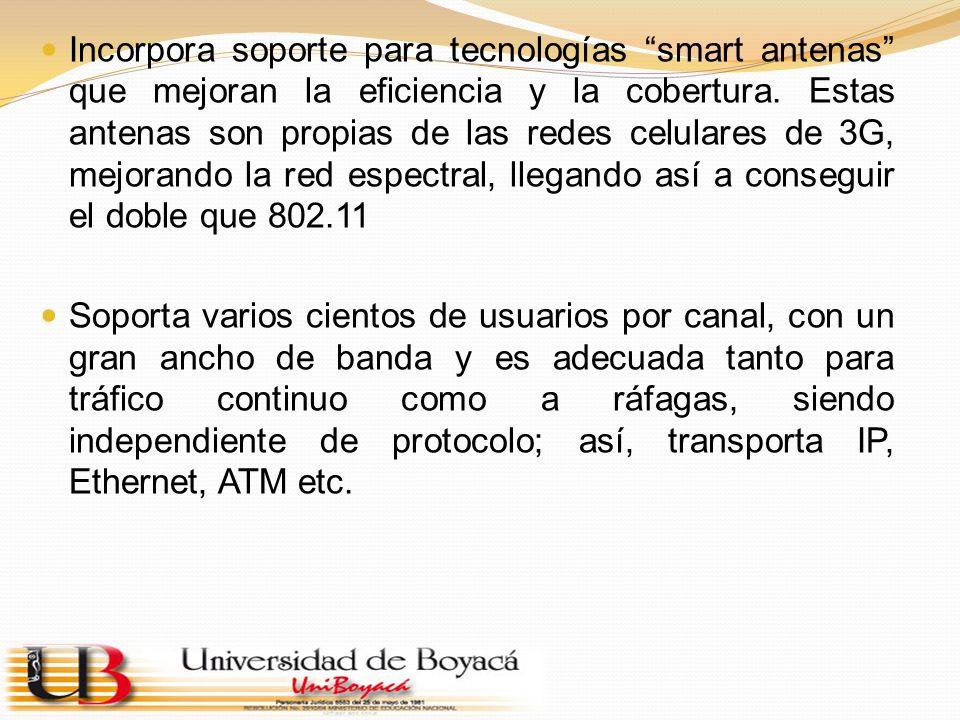 Incorpora soporte para tecnologías smart antenas que mejoran la eficiencia y la cobertura. Estas antenas son propias de las redes celulares de 3G, mej