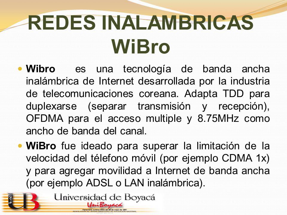 REDES INALAMBRICAS WiBro Wibro es una tecnología de banda ancha inalámbrica de Internet desarrollada por la industria de telecomunicaciones coreana. A