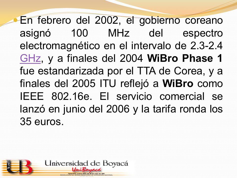 En febrero del 2002, el gobierno coreano asignó 100 MHz del espectro electromagnético en el intervalo de 2.3-2.4 GHz, y a finales del 2004 WiBro Phase