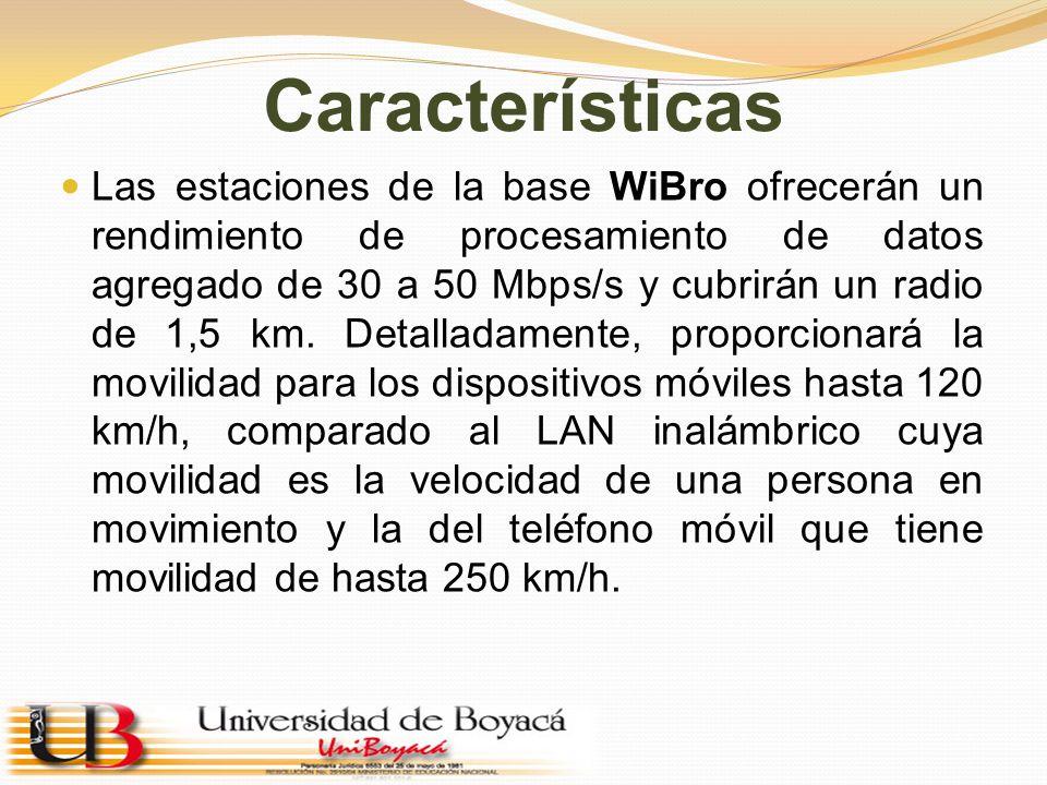 Características Las estaciones de la base WiBro ofrecerán un rendimiento de procesamiento de datos agregado de 30 a 50 Mbps/s y cubrirán un radio de 1