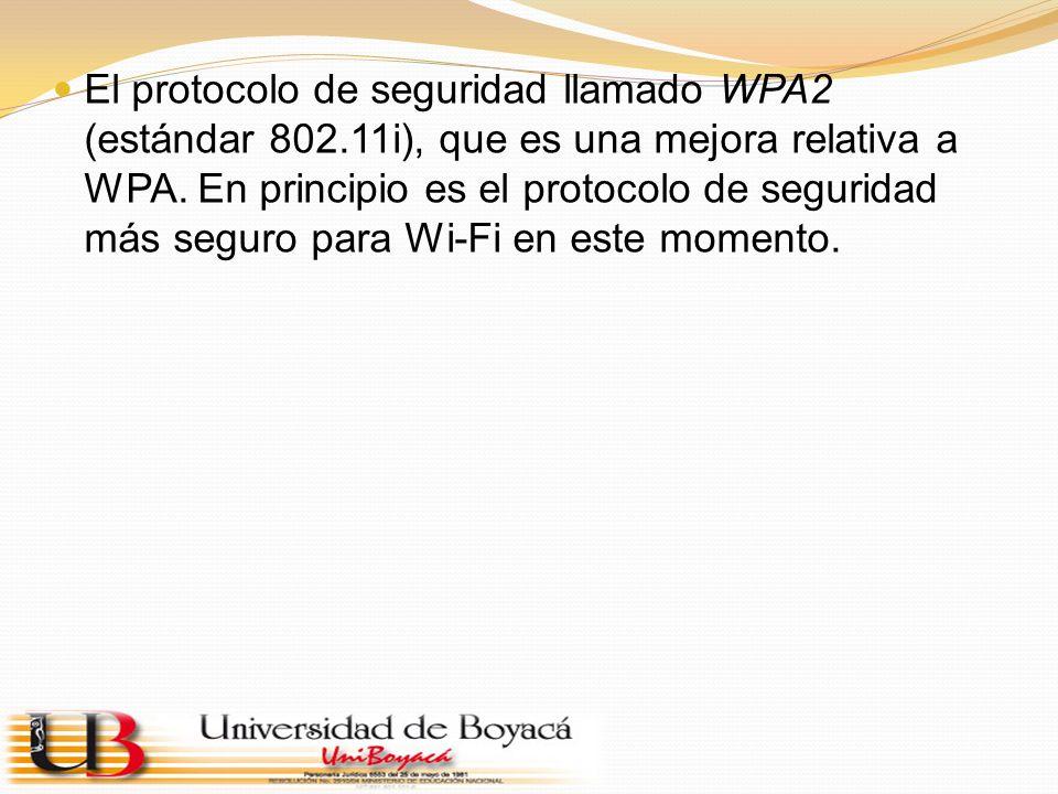 El protocolo de seguridad llamado WPA2 (estándar 802.11i), que es una mejora relativa a WPA. En principio es el protocolo de seguridad más seguro para