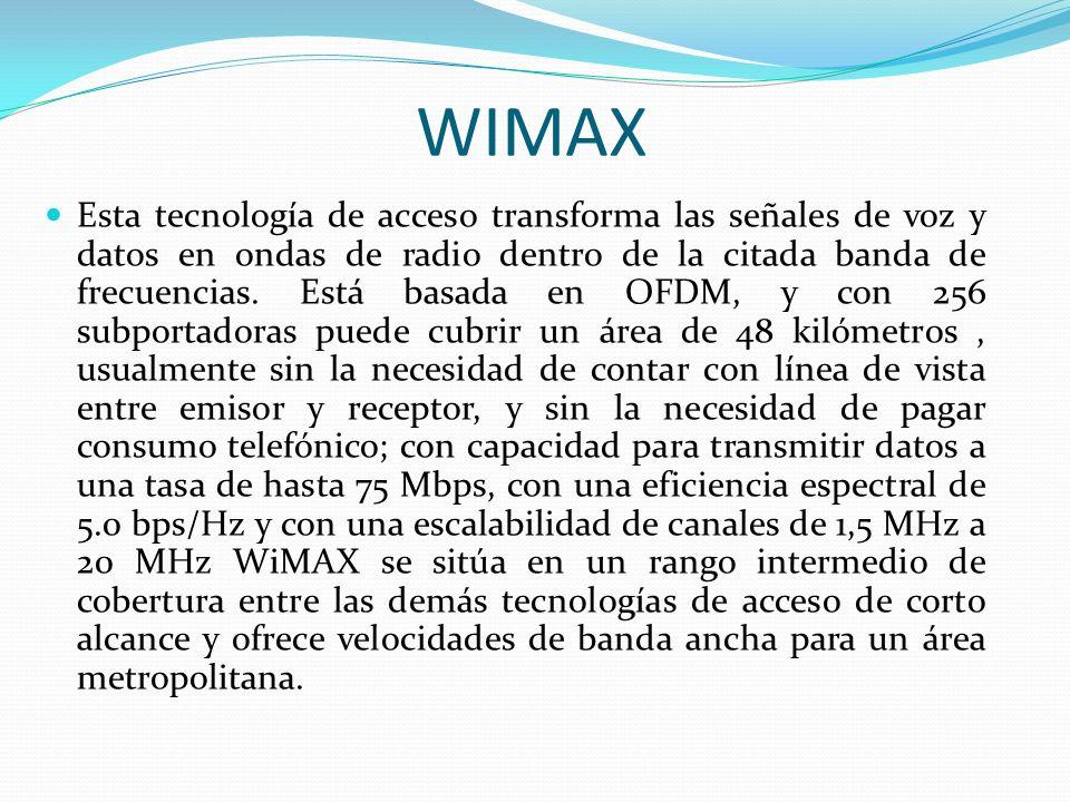 WIMAX Esta tecnología de acceso transforma las señales de voz y datos en ondas de radio dentro de la citada banda de frecuencias. Está basada en OFDM,