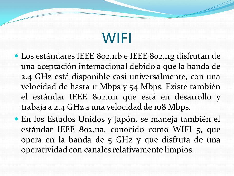 WIFI Los estándares IEEE 802.11b e IEEE 802.11g disfrutan de una aceptación internacional debido a que la banda de 2.4 GHz está disponible casi univer