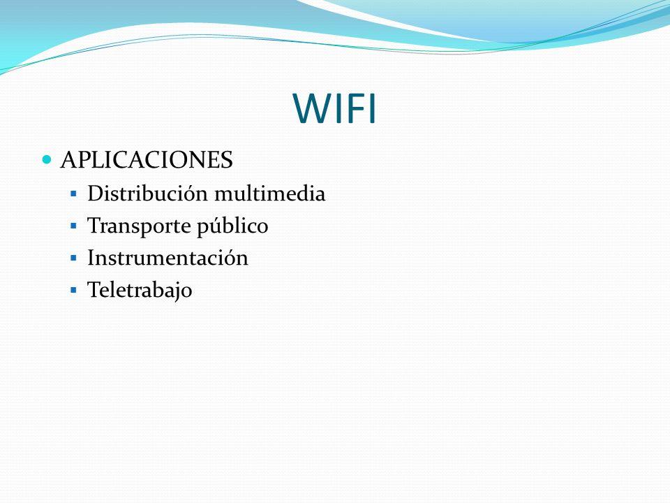 WIFI APLICACIONES Distribución multimedia Transporte público Instrumentación Teletrabajo
