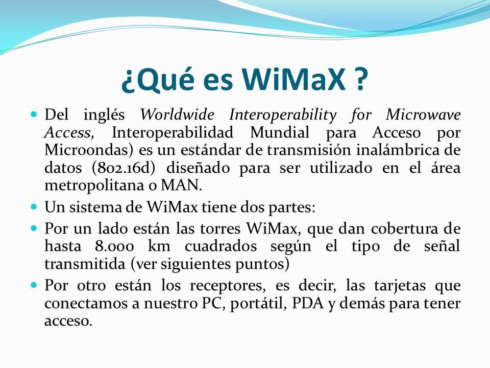 ¿Qué es WiMaX ? Del inglés Worldwide Interoperability for Microwave Access, Interoperabilidad Mundial para Acceso por Microondas) es un estándar de tr