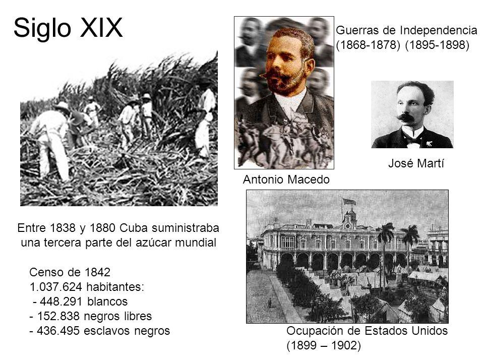 Entre 1838 y 1880 Cuba suministraba una tercera parte del azúcar mundial Siglo XIX Guerras de Independencia (1868-1878) (1895-1898) José Martí Antonio
