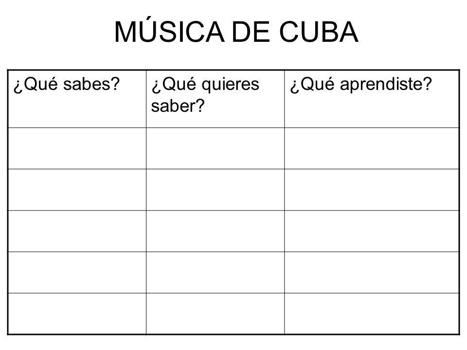 ¿Qué sabes?¿Qué quieres saber? ¿Qué aprendiste? MÚSICA DE CUBA