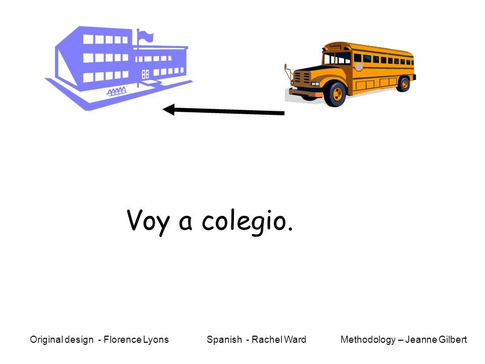 Voy a colegio. Methodology – Jeanne GilbertOriginal design - Florence Lyons Spanish - Rachel Ward