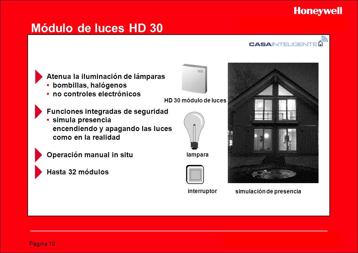 Página 10 Módulo de luces HD 30 Atenua la iluminación de lámparasbombillas, halógenosno controles electrónicos Funciones integradas de seguridadsimula