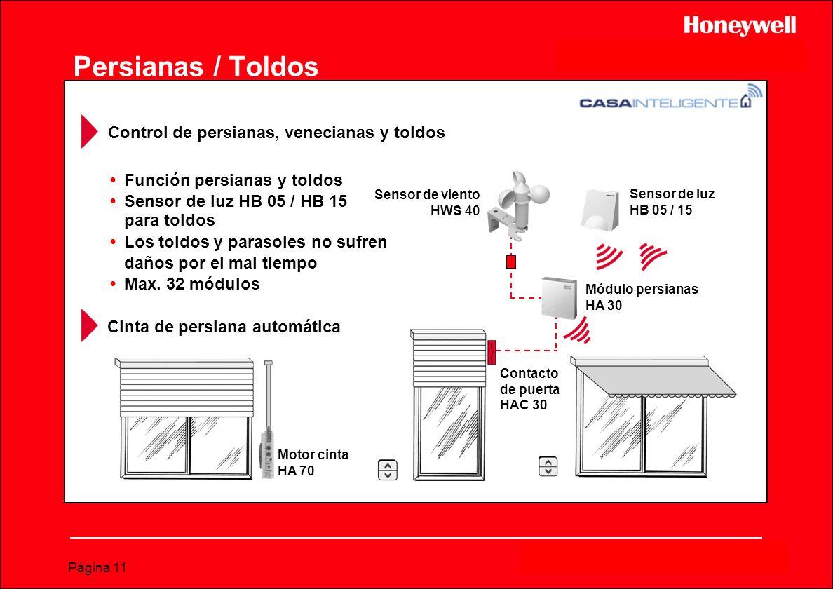 Página 11 Sensor de viento HWS 40 Sensor de luz HB 05 / 15 Módulo persianas HA 30 Contacto de puerta HAC 30 Persianas / Toldos Control de persianas, v