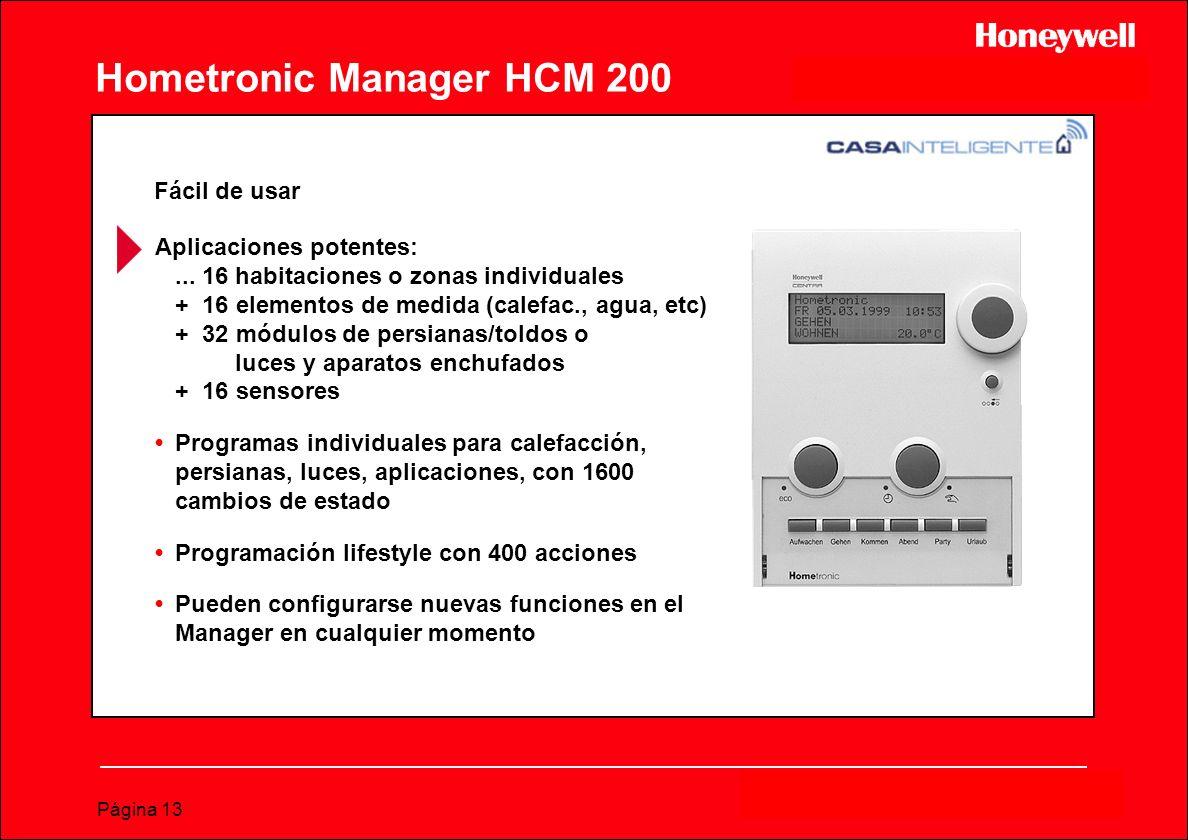 Página 13 Hometronic Manager HCM 200 Aplicaciones potentes:... 16 habitaciones o zonas individuales + 16 elementos de medida (calefac., agua, etc) + 3