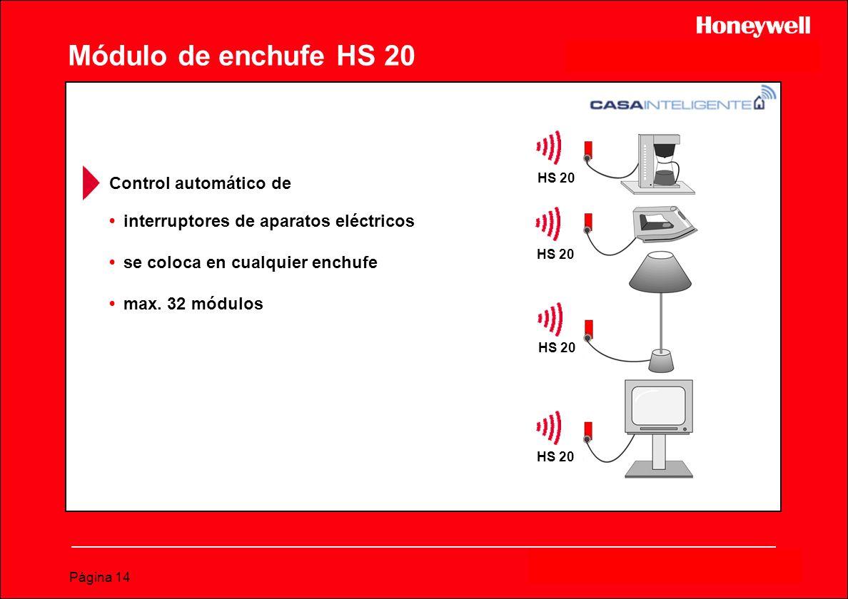 Página 14 Módulo de enchufe HS 20 interruptores de aparatos eléctricos se coloca en cualquier enchufe max. 32 módulos HS 20 Control automático de HS 2