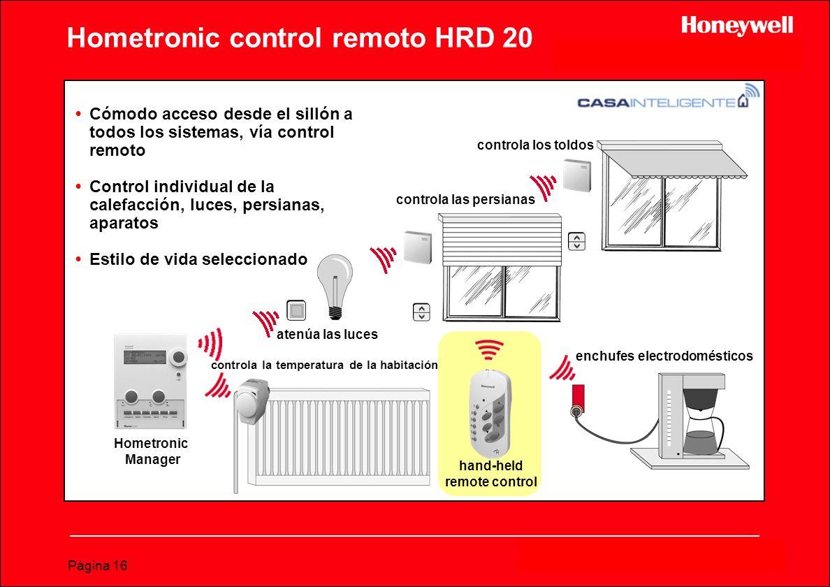 Página 16 Hometronic control remoto HRD 20 Cómodo acceso desde el sillón a todos los sistemas, vía control remoto Control individual de la calefacción