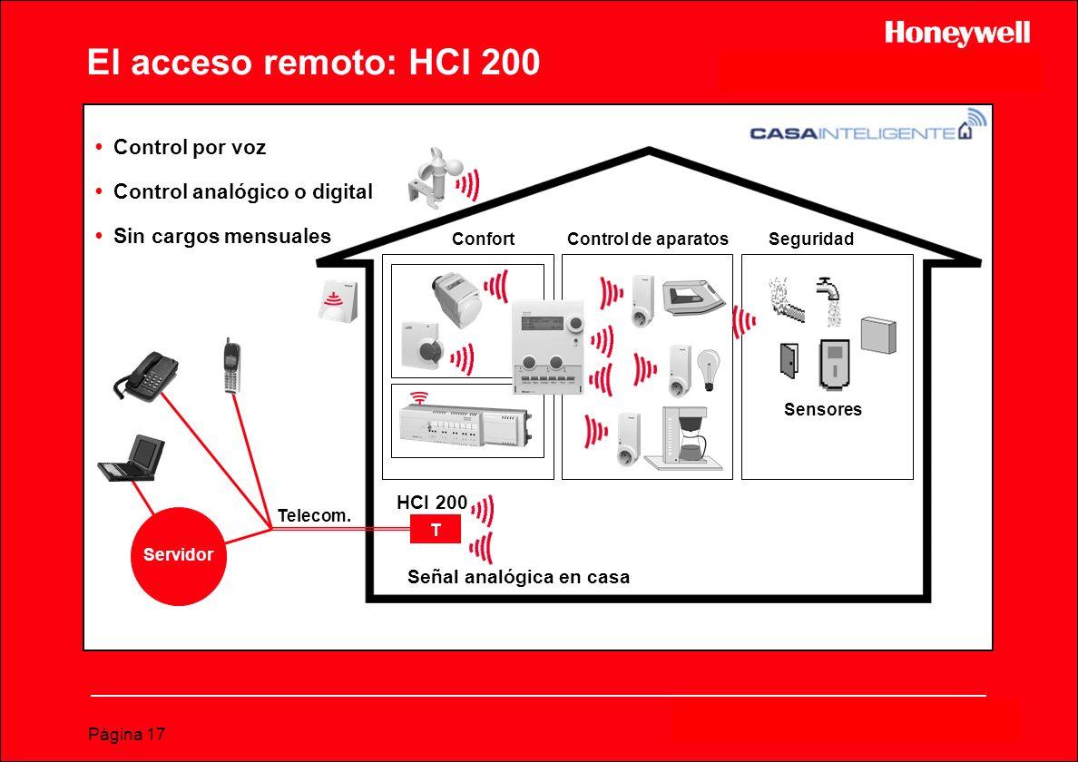 Página 17 El acceso remoto: HCI 200 ConfortSeguridad Sensores Control de aparatos Servidor Señal analógica en casa Telecom. T HCI 200 Control por voz