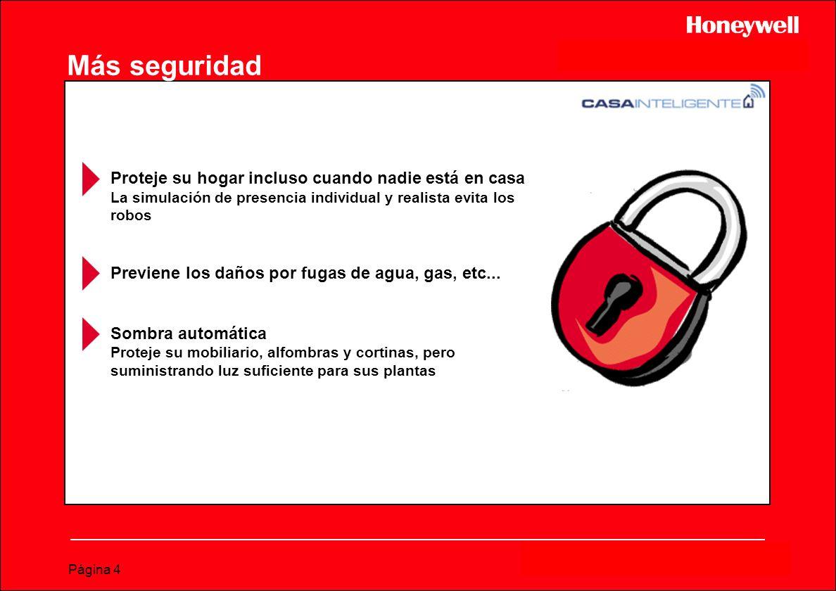 Página 4 Más seguridad Proteje su hogar incluso cuando nadie está en casa La simulación de presencia individual y realista evita los robos Previene lo