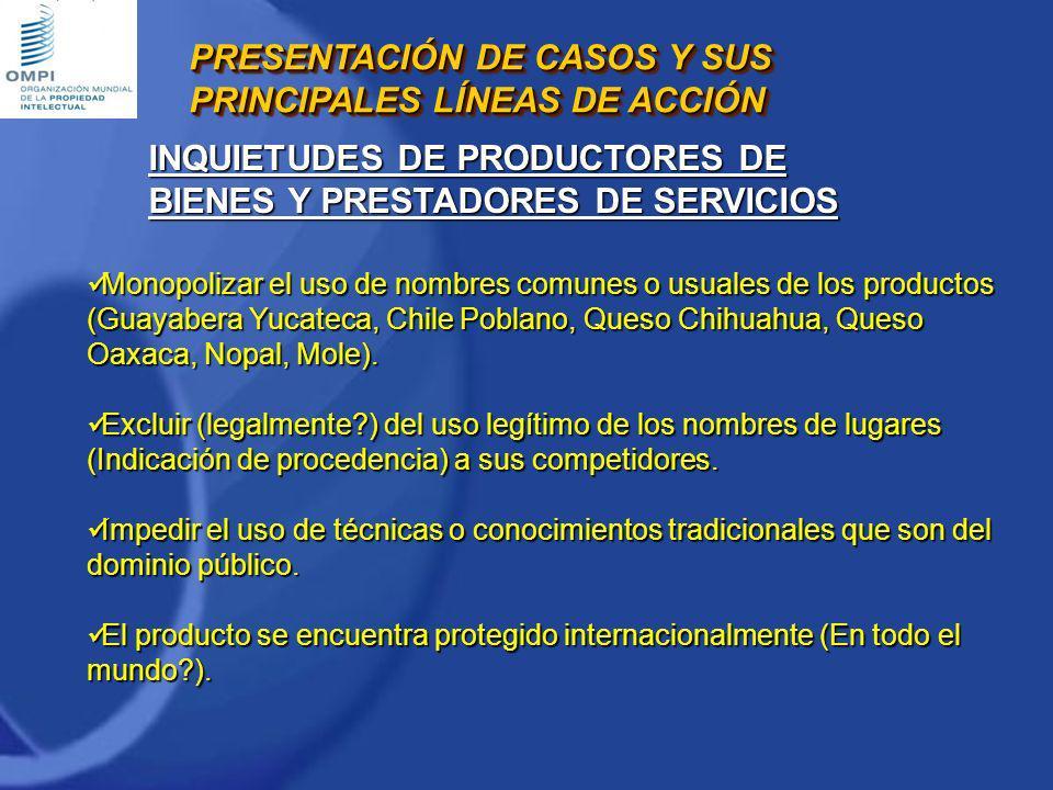 Monopolizar el uso de nombres comunes o usuales de los productos (Guayabera Yucateca, Chile Poblano, Queso Chihuahua, Queso Oaxaca, Nopal, Mole). Mono