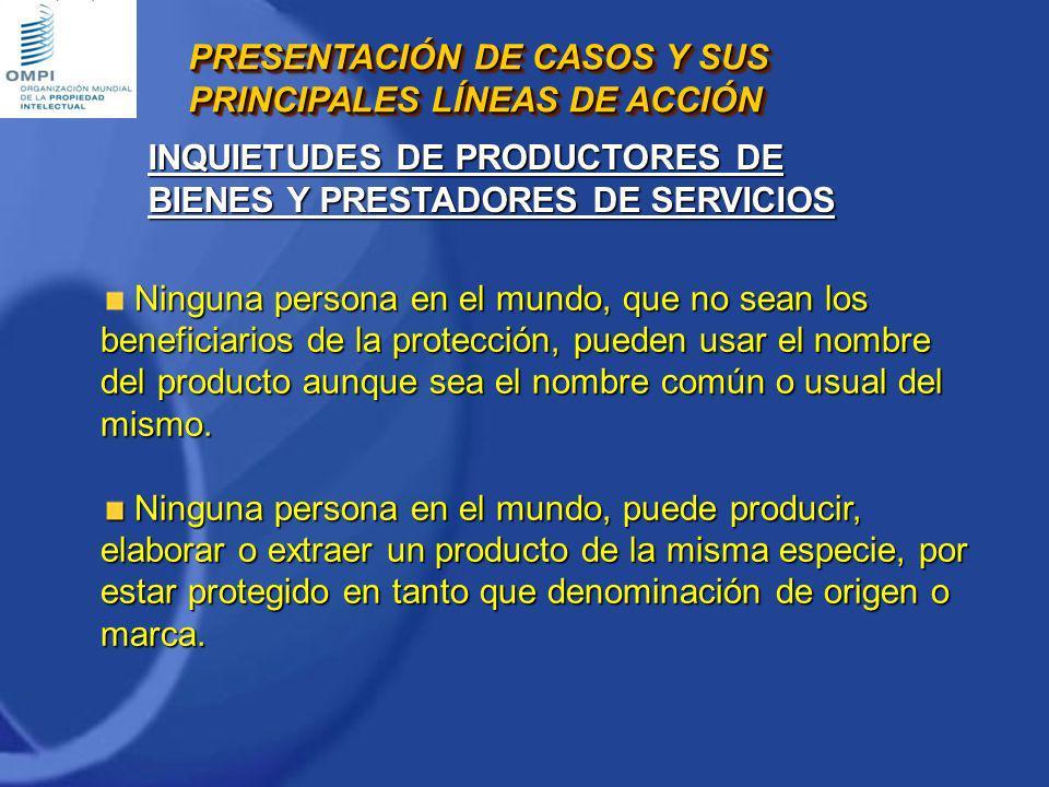 Ninguna persona en el mundo, que no sean los beneficiarios de la protección, pueden usar el nombre del producto aunque sea el nombre común o usual del