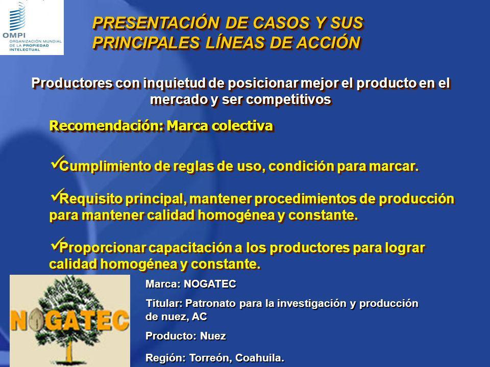 Marca: NOGATEC Titular: Patronato para la investigación y producción de nuez, AC Producto: Nuez Región: Torreón, Coahuila. PRESENTACIÓN DE CASOS Y SUS