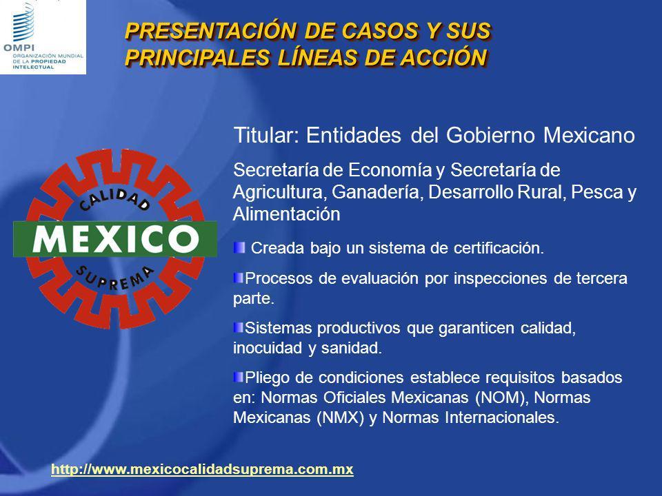 Titular: Entidades del Gobierno Mexicano Secretaría de Economía y Secretaría de Agricultura, Ganadería, Desarrollo Rural, Pesca y Alimentación Creada