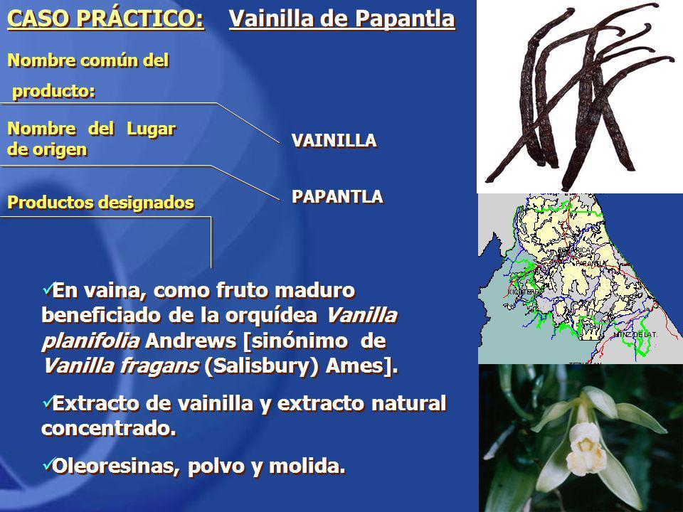 Nombre común del producto: Nombre común del producto: CASO PRÁCTICO: Vainilla de Papantla En vaina, como fruto maduro beneficiado de la orquídea Vanil