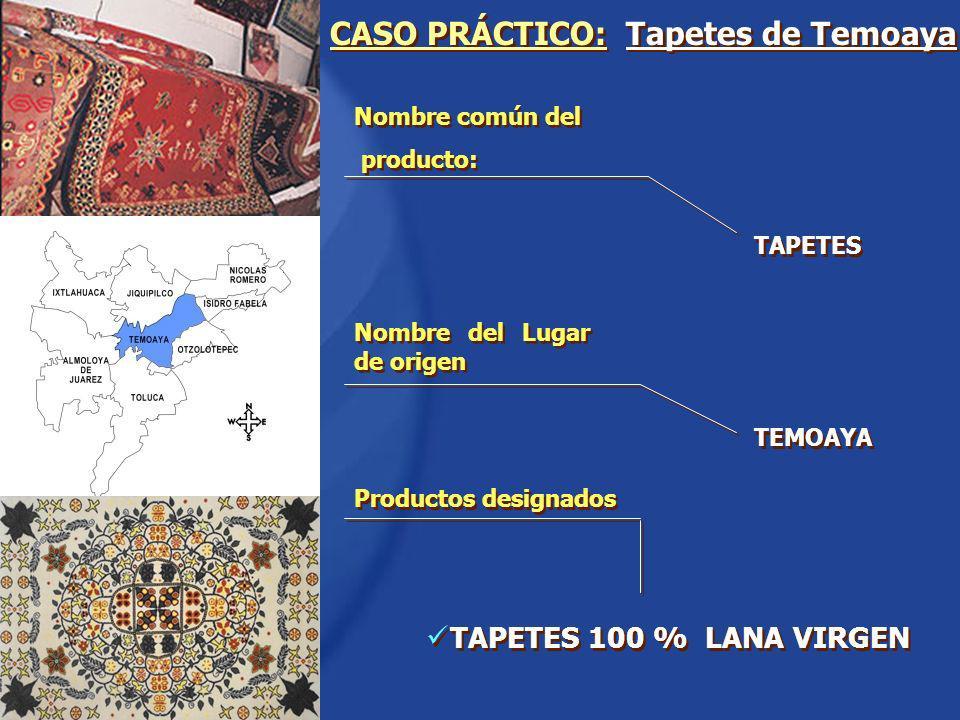 Nombre común del producto: Nombre común del producto: CASO PRÁCTICO: Tapetes de Temoaya TAPETES 100 % LANA VIRGEN Nombre del Lugar de origen TAPETES T