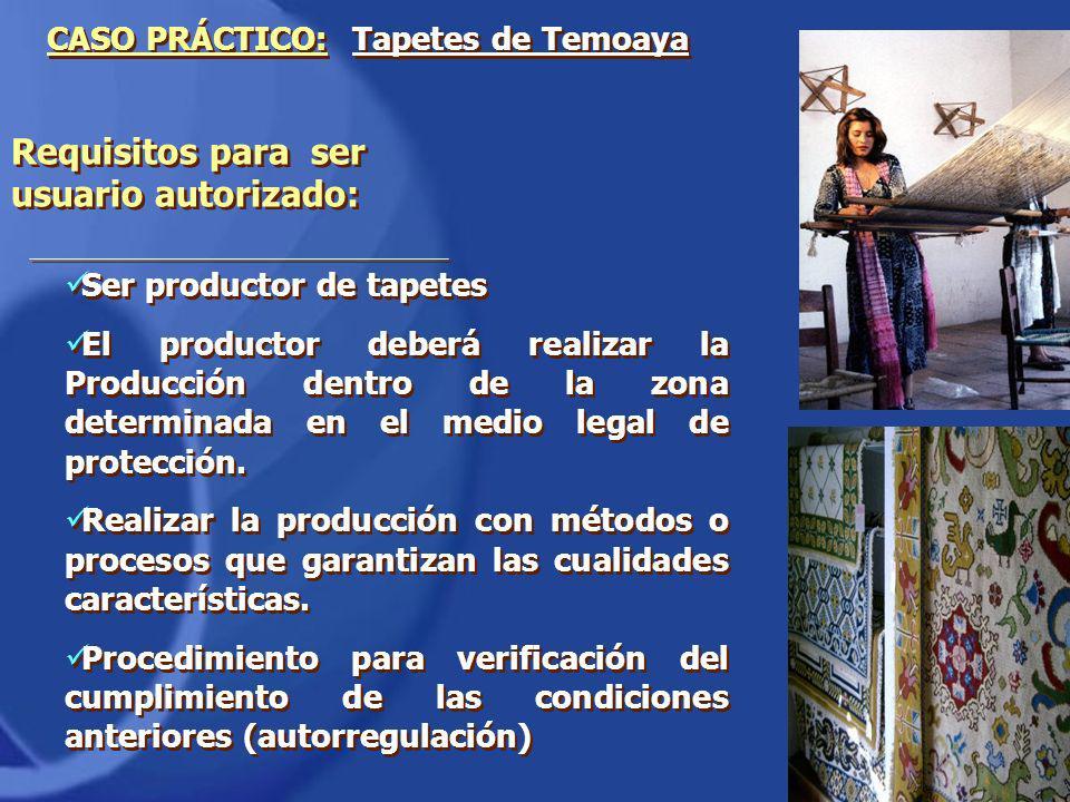 Ser productor de tapetes El productor deberá realizar la Producción dentro de la zona determinada en el medio legal de protección. Realizar la producc