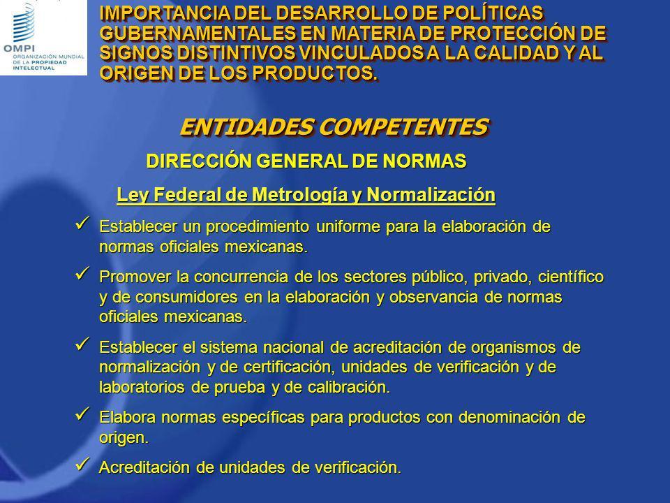 ENTIDADES COMPETENTES DIRECCIÓN GENERAL DE NORMAS Ley Federal de Metrología y Normalización-Norma Oficial Mexicana Denominación de la norma, clave y finalidad.