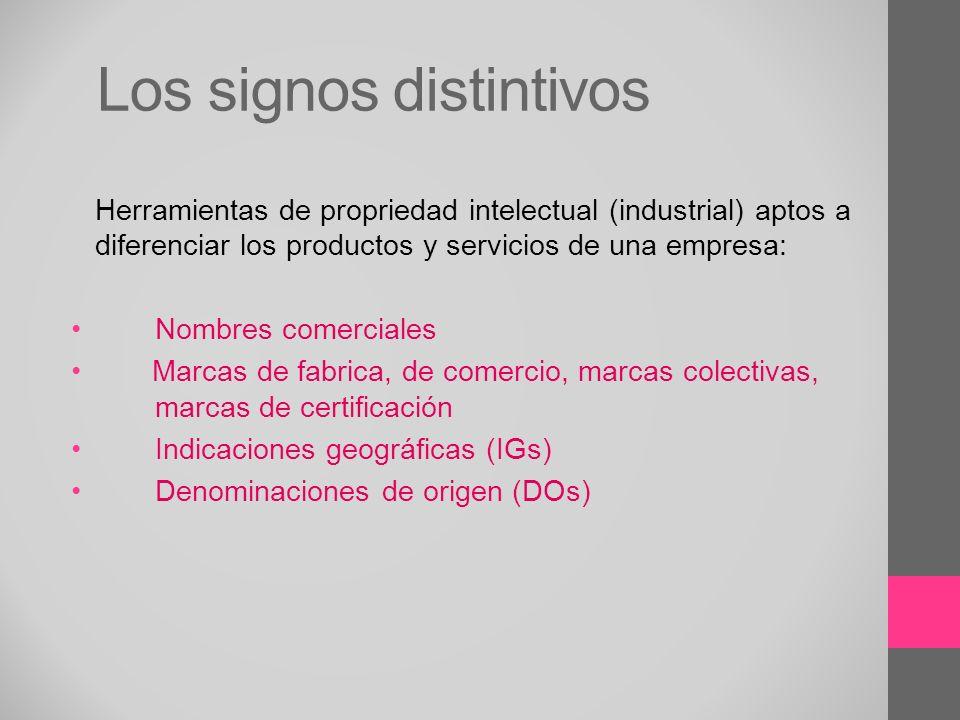 Los signos distintivos Herramientas de propriedad intelectual (industrial) aptos a diferenciar los productos y servicios de una empresa: Nombres comer