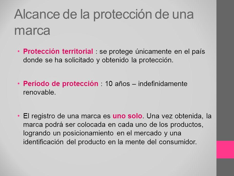 Alcance de la protección de una marca Protección territorial se protege únicamente en el país donde se ha solicitado y obtenido la protección. Período
