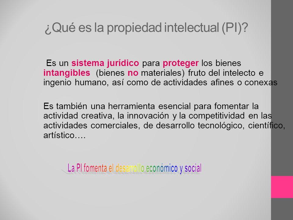 ¿Qué es la propiedad intelectual (PI)? Es un sistema jurídico para proteger los bienes intangibles (bienes no materiales) fruto del intelecto e ingeni