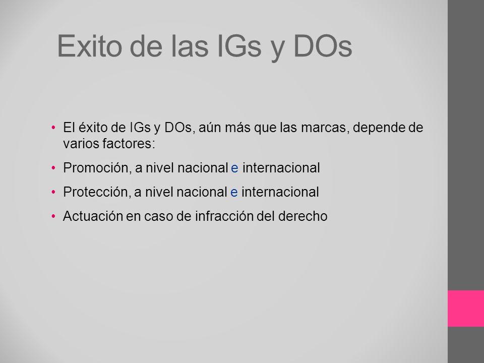 Exito de las IGs y DOs El éxito de IGs y DOs, aún más que las marcas, depende de varios factores: Promoción, a nivel nacional e internacional Protecci