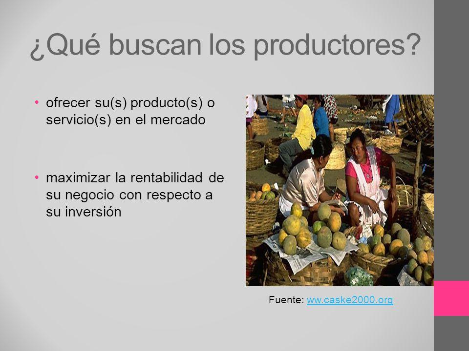 ¿Qué buscan los productores? ofrecer su(s) producto(s) o servicio(s) en el mercado maximizar la rentabilidad de su negocio con respecto a su inversión