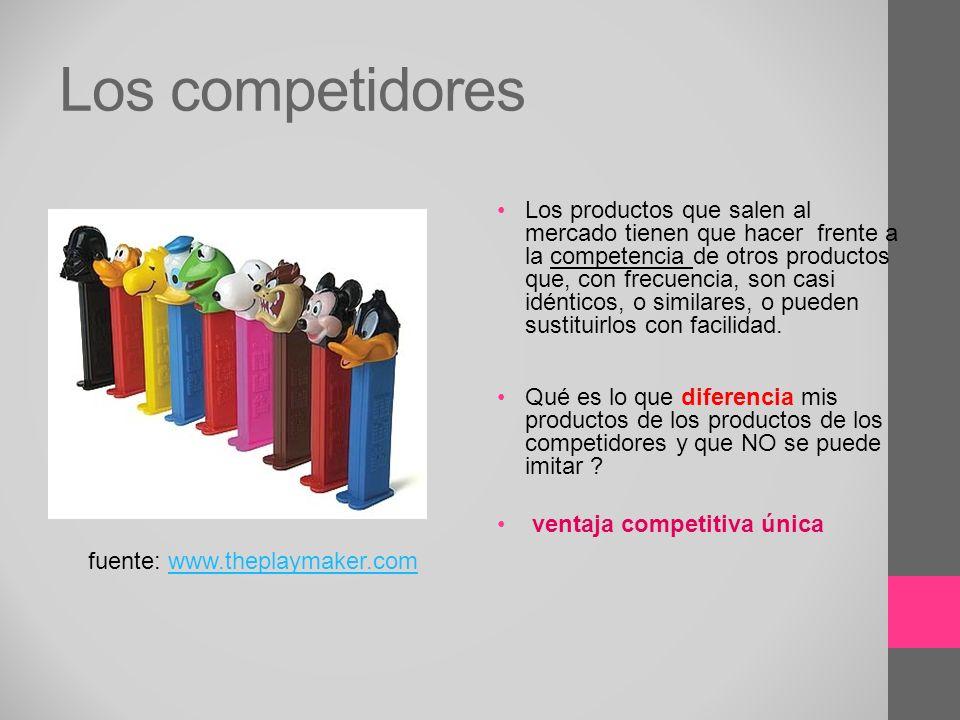 Los competidores Los productos que salen al mercado tienen que hacer frente a la competencia de otros productos que, con frecuencia, son casi idéntico