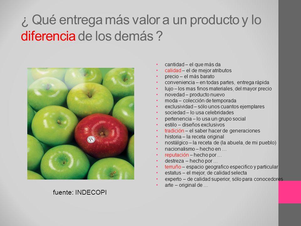 ¿ Qué entrega más valor a un producto y lo diferencia de los demás ? cantidad – el que más da calidad – el de mejor atributos precio – el más barato c