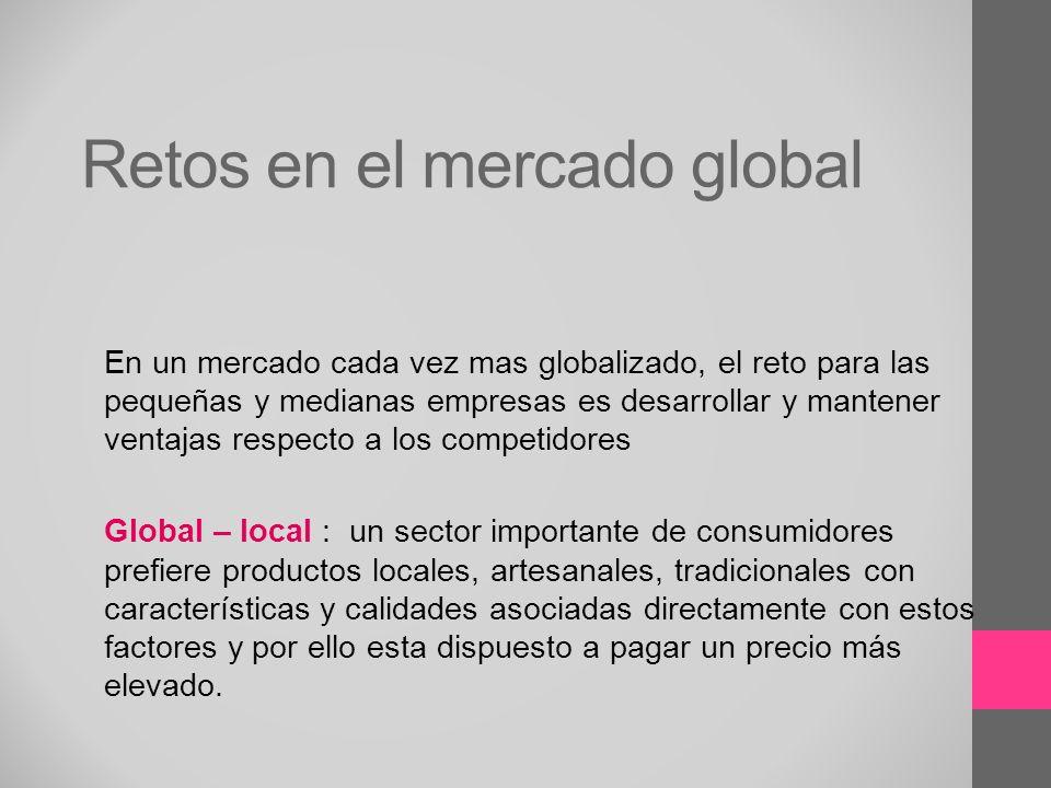 Retos en el mercado global En un mercado cada vez mas globalizado, el reto para las pequeñas y medianas empresas es desarrollar y mantener ventajas re