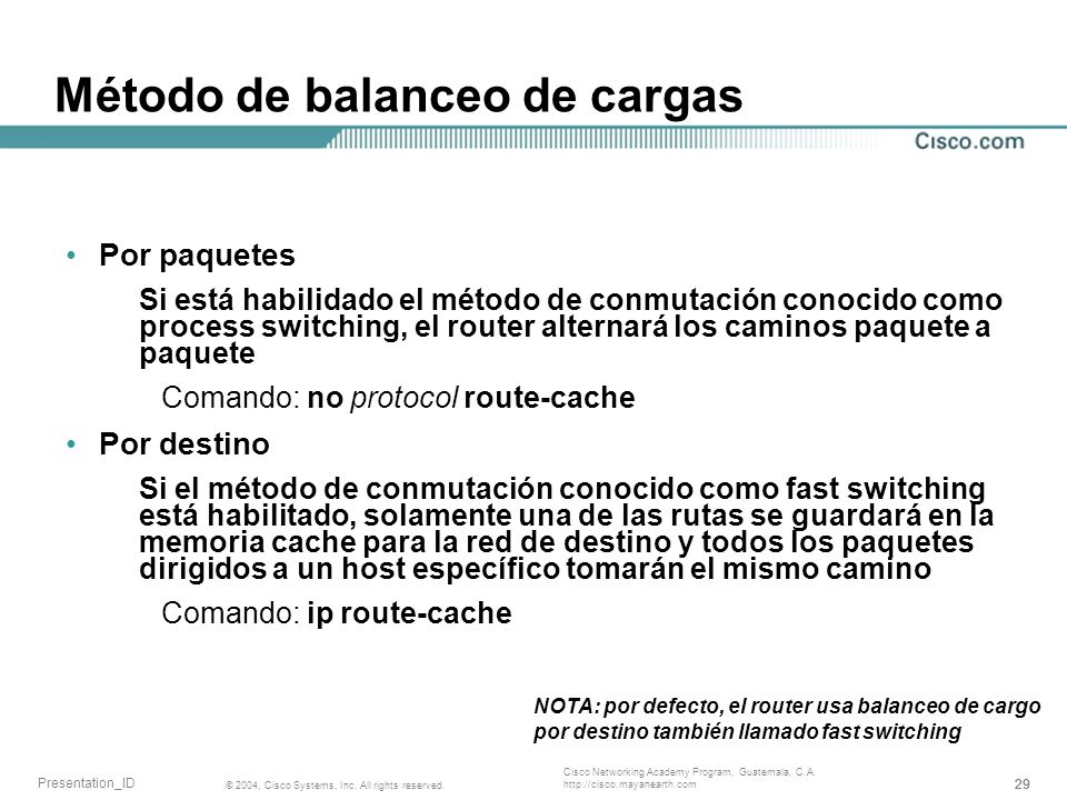 29 © 2004, Cisco Systems, Inc. All rights reserved. Presentation_ID Cisco Networking Academy Program, Guatemala, C.A. http://cisco.mayanearth.com Méto