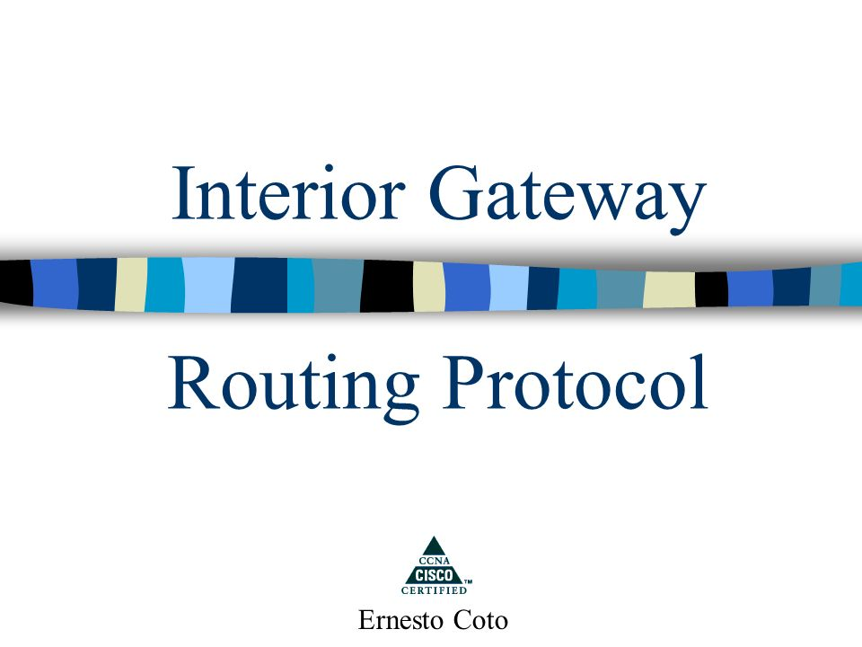 Interior Gateway Routing Protocol Ernesto Coto