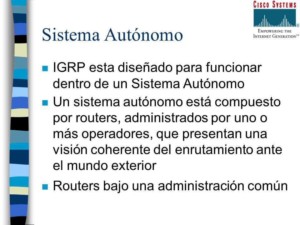 Sistema Autónomo n IGRP esta diseñado para funcionar dentro de un Sistema Autónomo n Un sistema autónomo está compuesto por routers, administrados por